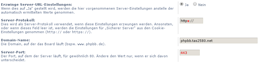 phpBB Server Einstellungen